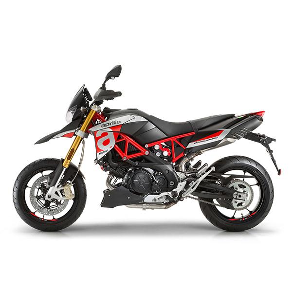 Moto modelo Duodorso 900 color gris, rojo y negro, marca Aprilia.