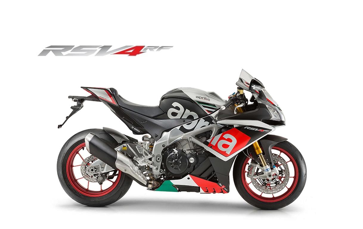 Moto modelo RSV4 RF color negro, marca Aprilia.