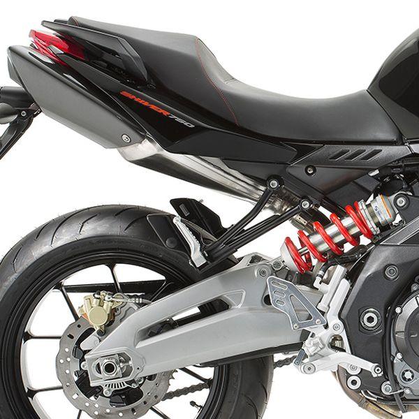 Moto modelo Shiver Motor 750 ABS color rojo y negro, marca Aprilia.