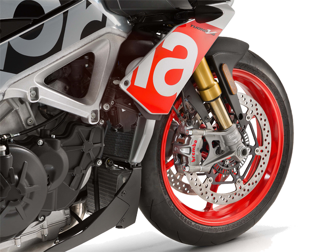 Moto Tuono V4 1100 RR color negro y gris con detalles en rojo.Marca Aprilia.