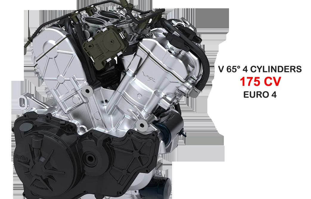 Moto Tuono V4 1100 RR detalle de motor Euro 4 Marca Aprilia.