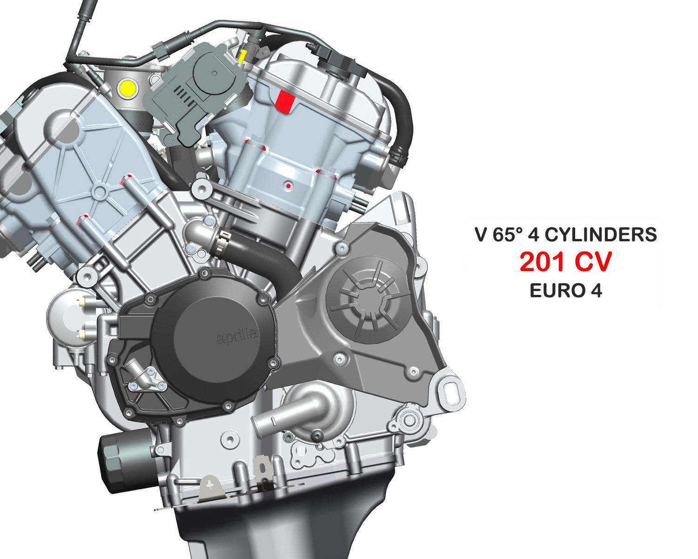 Detalle de Motor EURO4 de Moto RSV4 RR. Marca Aprilia.