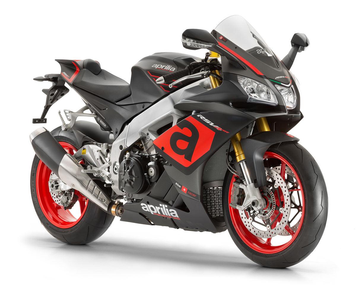 Moto RSV4 RR color negro y gris con detalles en rojo. Marca Aprilia