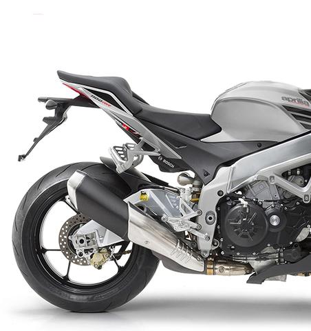 Moto Tuono V4 1100 RR color negro y gris. Sistema APRC. Marca Aprilia.